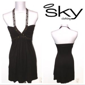 [Sky] Chain Halter Dress with Adjustable Strap